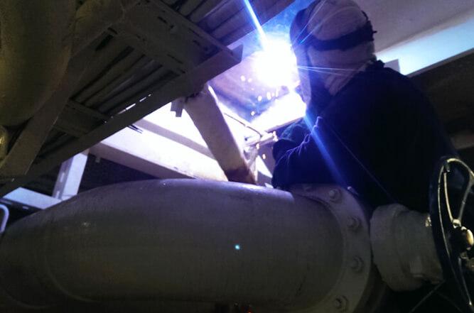 Engine room deck welding